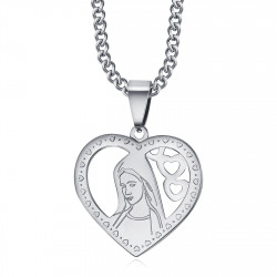 Pendentif Coeur Vierge Marie Collier Femme Acier Argent bobijoo
