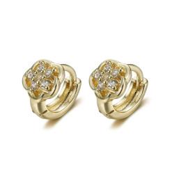 BOE0005 BOBIJOO Jewelry Pendientes bebé niño Oro Oro Flores Diamantes