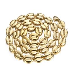 COH0038 BOBIJOO Jewelry Chicco di caffè collana uomo XXL 13mm 70cm Acciaio Oro