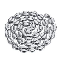 COH0038S BOBIJOO Jewelry Collar de granos de café hombre XXL 13mm 70cm Acero Plata