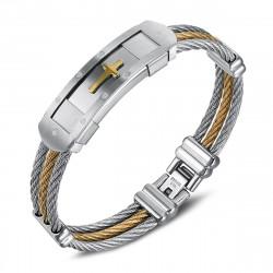 Bracelet cable acier homme Croix Argenté Doré Or bobijoo