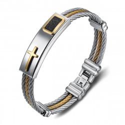 Bracelet cable acier homme Chic Cuir Croix bobijoo