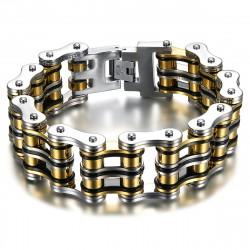 BR0243 BOBIJOO Jewelry Großes Motorradkettenarmband Stahl Gold Schwarz Silber