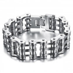 BR0244 BOBIJOO Jewelry Großes Motorradkettenarmband 316 Stahl Silber Chrom