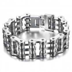 Large Bracelet Chaine de Moto Acier 316 Argenté Chrome