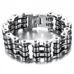 Large Bracelet Chaine de Moto Acier Argenté Noir Chrome