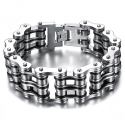 BR0245 BOBIJOO Jewelry Pulsera de cadena de motocicleta grande Acero Plata Negro Cromado
