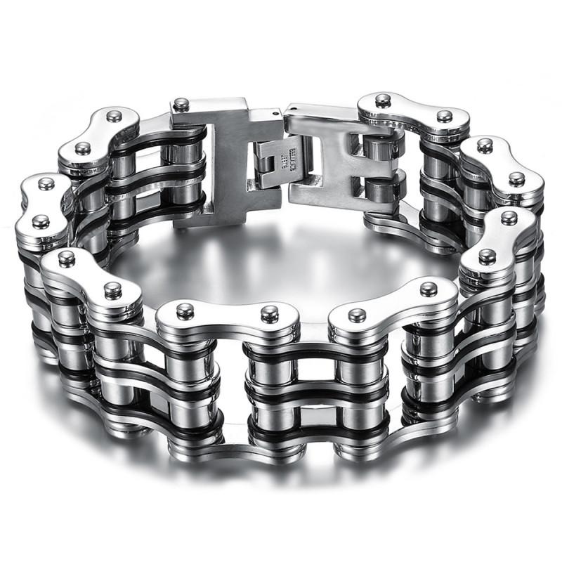 Large Bracelet Chaine de Moto Acier Argenté Noir Chrome bobijoo