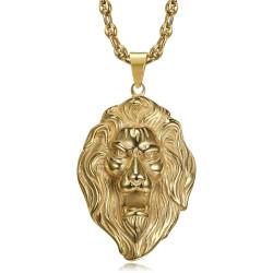 PE0009 BOBIJOO Jewelry Colgante XL de cabeza de león y collar de granos de café