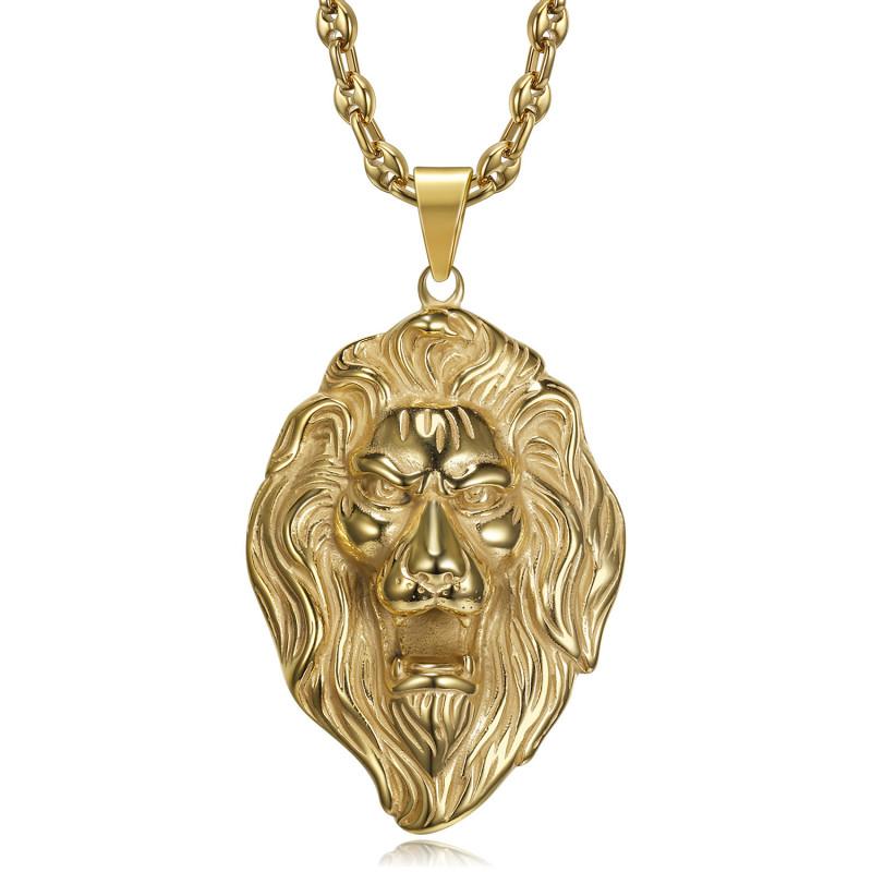 Pendentif tête de lion XL et Collier Grain de Café bobijoo