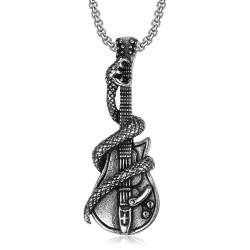 PE0072 BOBIJOO Jewelry Ciondolo Chitarra Lega di Bronzo + Catena Lunga 80 cm