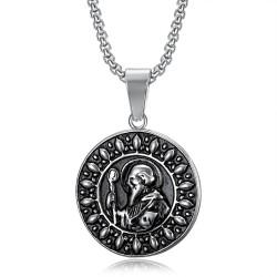 PE0074 BOBIJOO Jewelry Saint Benedict Medal Pendant and Chain Stainless steel
