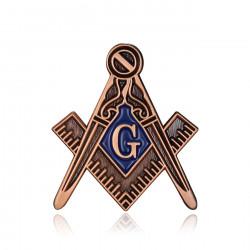 Pins Masonic G Bracket Compass Color Aged Bronze Patina IM#19988