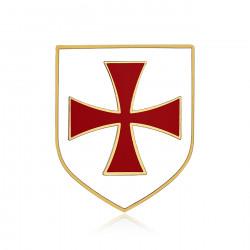 Kiefern-Schild-Templer-Ritter Weiß-Kreuz Pattée Rot IM#19994