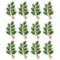 Lot 12 Pins Branche d'Acacia Franc-Maçon Doré à l'Or Fin Vert IM#20007