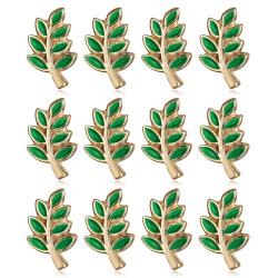 Lot 12 Pins Branche d'Acacia Franc-Maçon Doré à l'Or Fin Vert