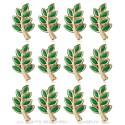 Lot 12 Pins Branche d'Acacia Franc-Maçon Doré à l'Or Fin Vert IM#20008