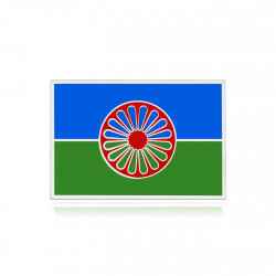 PIN0039 BOBIJOO Jewelry Travellers Pins, die silberne und emaillierte Roma-Flagge
