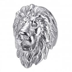 BA0340S BOBIJOO Jewelry anillo de cabeza de león: diamantes de plata y ojos, joya enorme