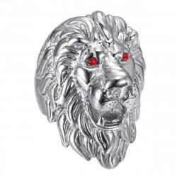 BA0341S BOBIJOO Jewelry Anillo de cabeza de león: ojos de rubí plateado y rojo, joya enorme