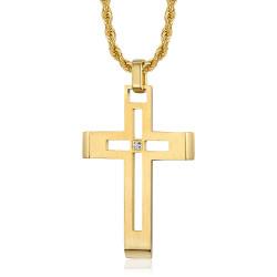 PE0086 BOBIJOO Jewelry Herren Kreuzkette Edelstahl Gold Diamant