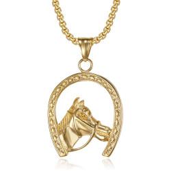 Pendente a ferro di cavallo in oro Elvis Gypsy + catena IM#20045