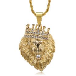 PE0139 BOBIJOO Jewelry Colgante de cabeza de león coronado con diamantes de oro o plata