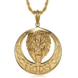 Collana leone, sole imponente e testa radiosa, bobijoo in acciaio e oro