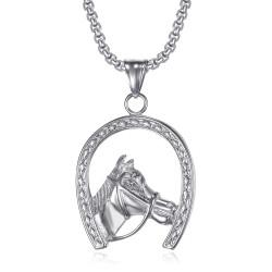 Ciondolo a ferro di cavallo Elvis Gypsy in acciaio argento + catena IM#20077
