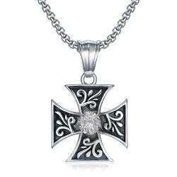 PE0231 BOBIJOO Jewelry Anhänger Templer Kreuz Pattée Diamond Knight