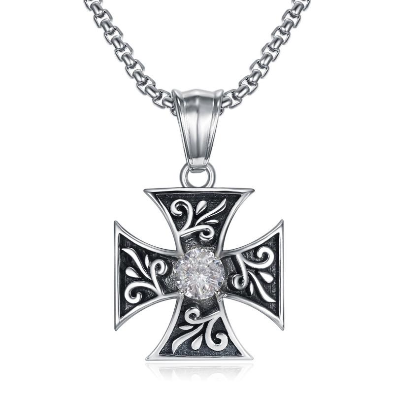 PE0231 BOBIJOO Jewelry Colgante Cruz Templaria Pattée Diamante Caballero