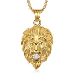 PE0326 BOBIJOO Jewelry Lion head necklace Steel Gold 3 rhinestones eyes and mouth