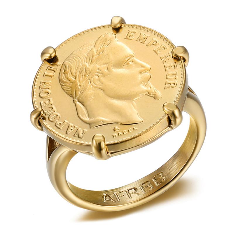 Anillo Napoleón Rayado Moneda 20 Francos Chapado En Oro Luis IM#20119