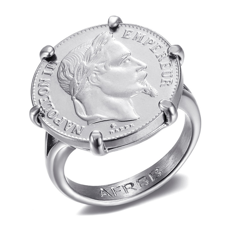 Napoleon Clawed Ring Set Coin 20 Francs Louis Gold Silver IM#20126
