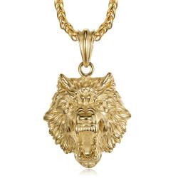 PE0327 BOBIJOO Jewelry Wolfskopf Halskette Edelstahl und Gold