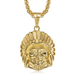PE0328 BOBIJOO Jewelry Collar de cabeza de indio de acero inoxidable y oro