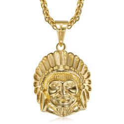 PE0328 BOBIJOO Jewelry Indian head necklace Stainless steel and Gold