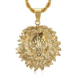 PE0329 BOBIJOO Jewelry Lion head necklace flaming mane steel gold