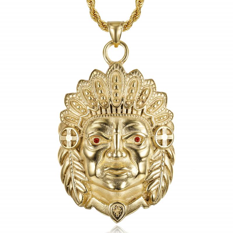 Gros Collier tête d'indien Yeux rouge rubis Acier Or bobijoo