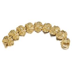 Bracelet lion 8 têtes Homme 150gr Acier et Or bobijoo