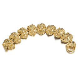 BR0286 BOBIJOO Jewelry Leone Bracciale Uomo 150gr Testa Acciaio e Oro