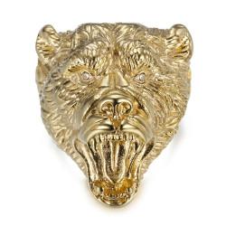 Bague ours Chevalière homme Acier Or Diamants bobijoo