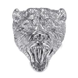 BA0395S BOBIJOO Jewelry Bärenring Siegelring Mann Steel Diamonds