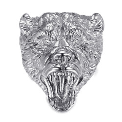 BA0395S BOBIJOO Jewelry Bear ring Signet ring man Steel Diamonds