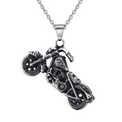 PE0049 BOBIJOO Jewelry Motorcycle Biker Fleur-de-Lys Skull Pendant
