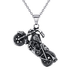 Pendentif moto Biker Fleur de Lys Tête de Mort bobijoo