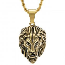 PE0331 BOBIJOO Jewelry Collar con cabeza de león para hombre Steel Gold Vintage