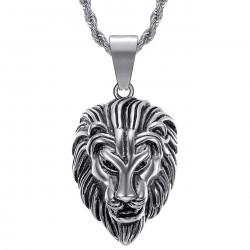 PE0331S BOBIJOO Jewelry Herren Löwenkopf Halskette Stahl Silber Vintage