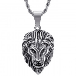 PE0331S BOBIJOO Jewelry Men's lion head necklace Steel Silver Vintage