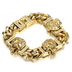 BR0287 BOBIJOO Jewelry Lion bracelet luxury curb 3 heads Gold Diamonds